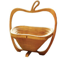 Traditional Folding Decorative Bamboo Apple Shaped Wooden Fruit Bowl  Basket