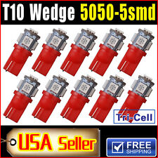 10 X Car T10 Red LED 5050 5smd Wedge Light Bulb W5W 194 168 2825 501 192 175 158
