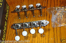 GOTOH 4 TO A SIDE NICKEL CHROME PEARLOID F MANDOLIN MACHINE HEADS TUNERS TUNING