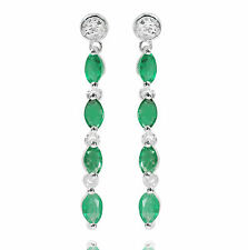 De Buman 1.52ctw Emerald with Diamond Sterling Silver Dangle Elegant Earrings