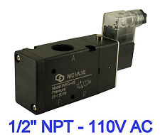 "3 Way Electric Directional Control Air Cylinder Solenoid Valve 1/2"" Inch 110V AC"