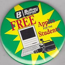 "VINTAGE 3"" PINBACK #38-060 - ADVERTISING - BUTTREY FOOD - APPLE COMPUTERS"