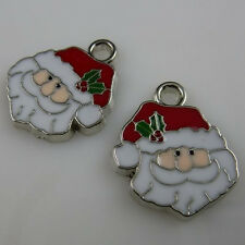 10471 10PCS Merry Christmas Enamel Santa Claus Father Christmas Pendant Charms