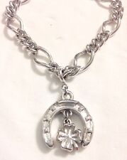 Vintage Silver MONET Horse Shoe Chain GOOD LUCK Charm Bracelet With Safety Chain