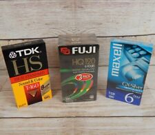 5 Blank VHS Tapes Video Cassette FUJI HQ-120 6 Hours TDK HS T-160 Maxell T-120
