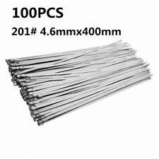 100PCS Stainless Steel Metal Cable Zip Tie Ties Heat Wrap Exhaust 400mm x 4.6mm