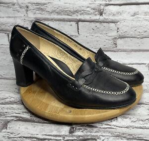 Taryn Rose Size 8.5 Womens Heels Black Leather Slip On Pumps Closed Toe