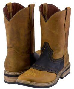Mens Saddle Vamp Cowboy Boots Honey Black Genuine Leather Western Rodeo Toe