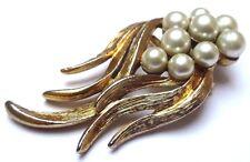 Belle broche ancien bijou vintage couleur or perles nacrées 3288
