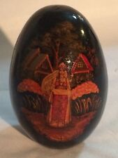 Russian Wooden Egg Hand Painted Girl in Village Scene