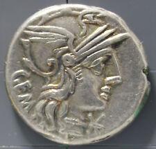 132 B.C. silver roman republic denarius coin M. Aburius M.f. Geminus