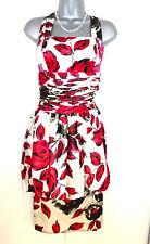 BNWT Michel Ambers Silk Satin Floral Print Evening Occasion Dress 10