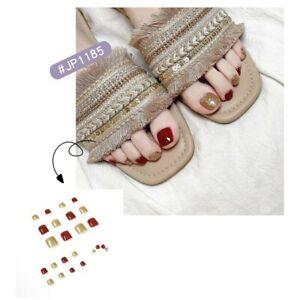 Summer Luxury Full Detachable Press On Toenails Red Gold Glitter Fake Toe Nails