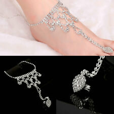 Women Toe Ring Anklet Foot Chain Water Drop Rhinestone Barefoot Sandal Chain NSU