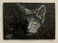 ACEO Original Miniature Portrait Black Cat at Night Acrylic Painting Art Card