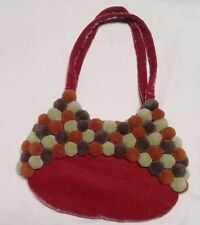Craft Link Purse Made In  Vietnam W Pom Poms Chartreuse ,Brown and Burnt  Orange