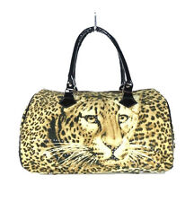 Women Handbag Leopard Print Tote Purse Faux Fur Brown & Black