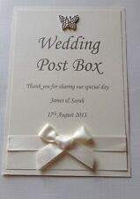 PERSONALISED WEDDING POST BOX SIGN WITH SATIN RIBBON & BUTTERFLY