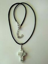 NATURAL white ❤HOWLITE JASPER❤ CROSS & Black waxed cotton chain 18-20'' Necklace