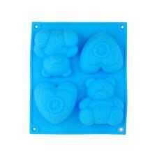Oso Y Corazón Silicona Molde Cupcake Chocolate Muffin Pudding PAN De Jabón Para Niños