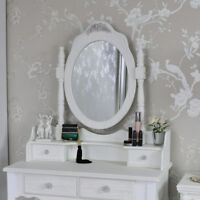 Large ornate white rose freestanding table top vanity mirror shabby French chic