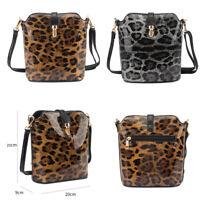 Ladies Patent Leopard Saddle Bag Girls Animal Print Shoulder Bag Handbag G8203LP
