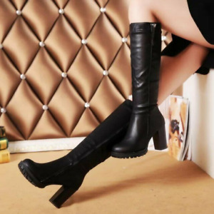 Womens Punk Comfortable Chunky Heel Pu Leather Mid Calf Knee High Riding Boots