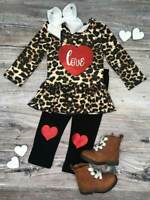 Toddler, Girls Boutique Clothing Outfit, Cheetah Love Heart Set 2T 3T 4T 5 6 7 8