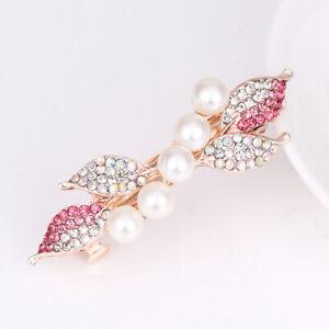 Fashion Women Pearl Crystal Clips Barrette Rhinestone Hair Pin Accessories