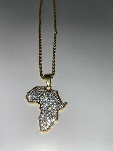Gold Iced Africa Necklace Pendant Chain Rasta Reggae Afro Black African U.K