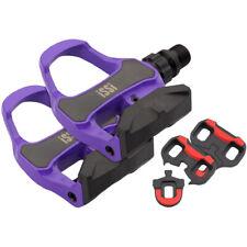 """iSSi Road Bike Pedals Single Sided Clipless Carbon 9/16"""" Violet Large Platform"""