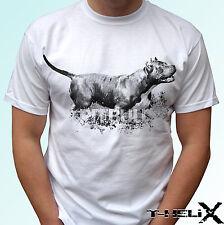 Pitbull design white t shirt top dog pit bull terrier tee art 100% cotton
