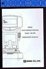 NIDEK Auto Refractometer Model AR-600 Operator's Manual