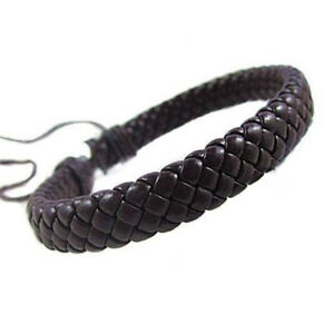 Women Mens Retro Leather Braided Wristband Cuf Bracelet Bangle Knitted Wrap