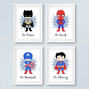 Superhero Nursery Quote Prints Childrens Boys Bedroom Wall Art Pictures Decor