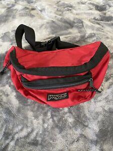Vintage Jansport Fanny Pack Waist Pouch Bag Nylon Red USA