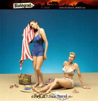 1/35 Girls on Beach Resin Model Kits Unpainted Set of 2 Figures GK Unassembled