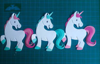 6 unicorns paper die cuts card toppers animals fantasy fairy kids birthday horse