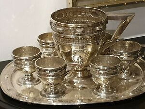 4515g SUPERB STERLING SILVER LOPEZ ROYAL set PITCHER 6 EWERS &TRAY INSPIRED XVIC