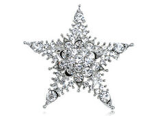 Twinkle North Star Light Silver Crystal Rhinestone Holiday Hot Pin Brooch Gift