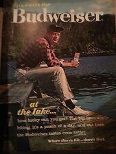 1962 Budweiser Beer Cans Fishing At The Lake Fisherman Fishing Pole  Original Ad