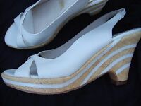 WITTNER WEDGES HEELS SHOES SIZE 38 LEATHER WEDDING OPEN TOE DETAIL SLINGBACKS