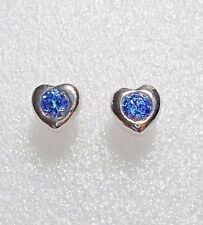 925 St silver heart studs, made with blue Swarovski crystals