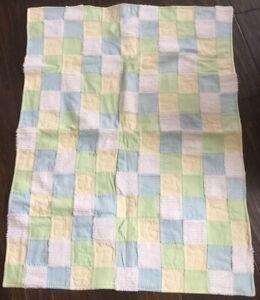 Handmade Duck Blue Green Yellow White Chenille Fleece Super Soft Baby Quilt