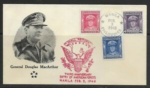 1948 Philippines FDC General Douglas MacArthur issue #519-21