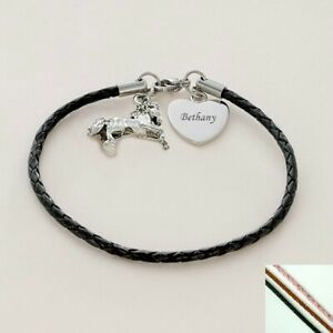 Personalised Bracelet, Leather, Horse Charm, Any Engraving, Equestrian Gift