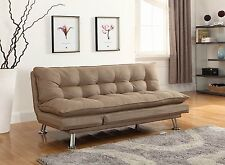 Upholstered Sofa Couch Bed Sleeper Convertible Living Room Furniture Futon Brown