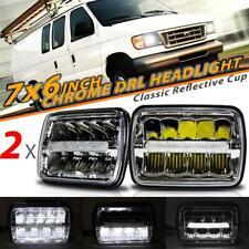 "Pair 7x6"" 5x7"" inch LED Headlights Chrome DRL Hi-Lo Beam for Ford GMC Truck Van"