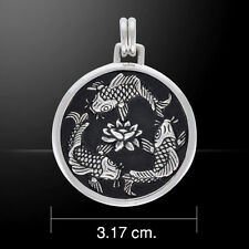 Chinese Koi Fish .925 Sterling Silver Feng Shui Pendant by Peter Stone