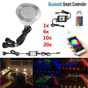 Bluetooth RGB/RGB+Warmweiß Boden Einbaustrahler LED Leuchte Außenlampe Minispot